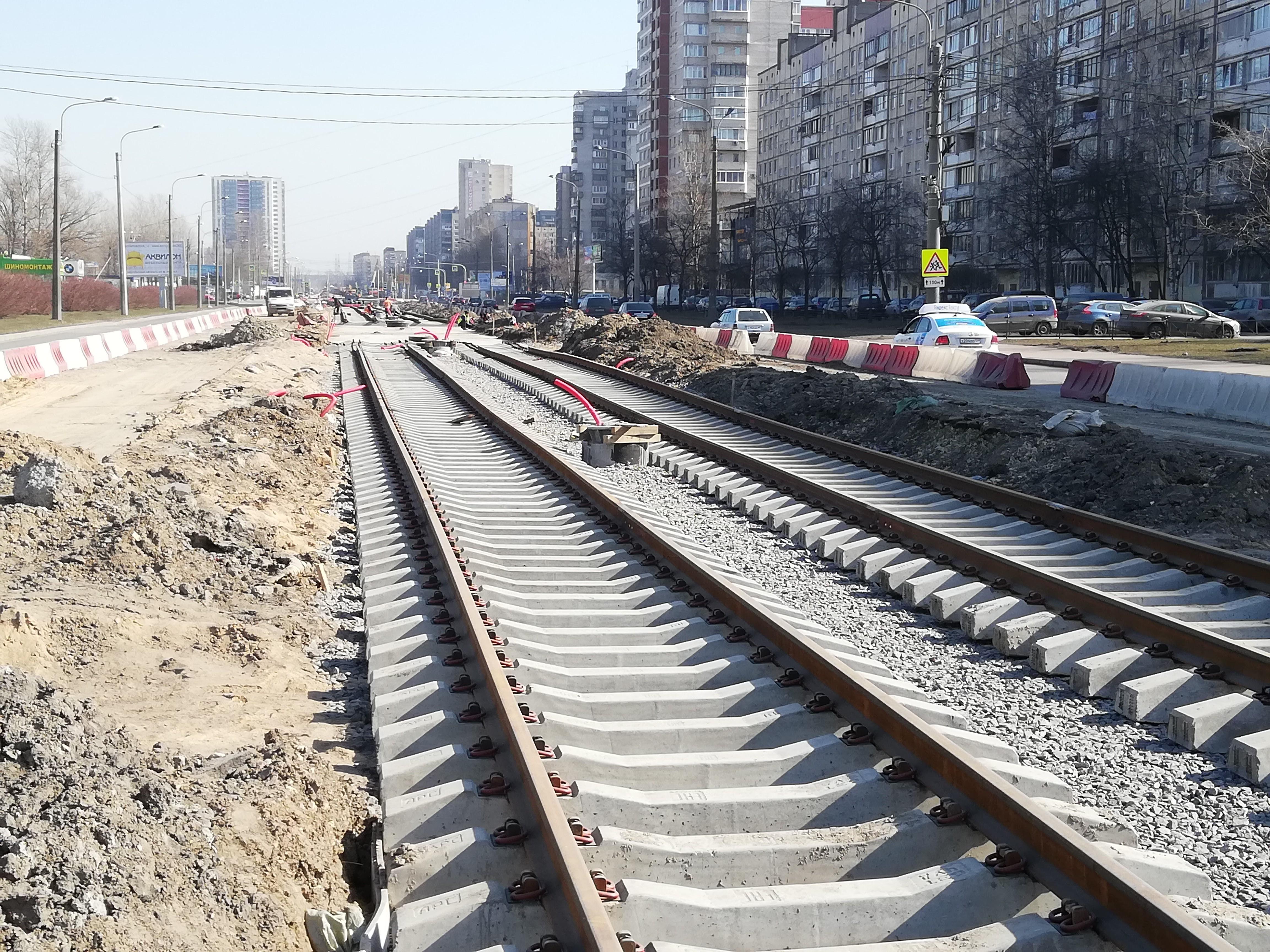 Строительство трамвайного участка № 4 по Ириновскому пр.